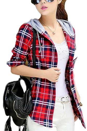 La Mujer Casual De Manga Larga Botón Abajo Camisa Slim Control Con Capucha Con Cordon