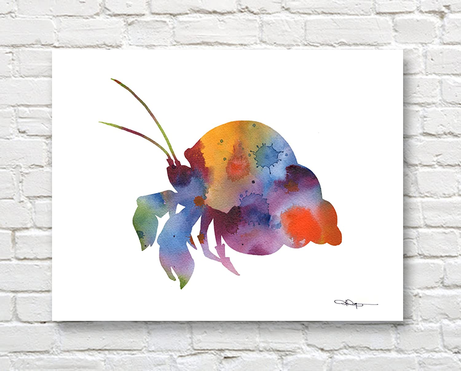 """Crab Abstract Watercolor Painting 11/"""" x 14/"""" Art Print by Artist DJ Rogers"""