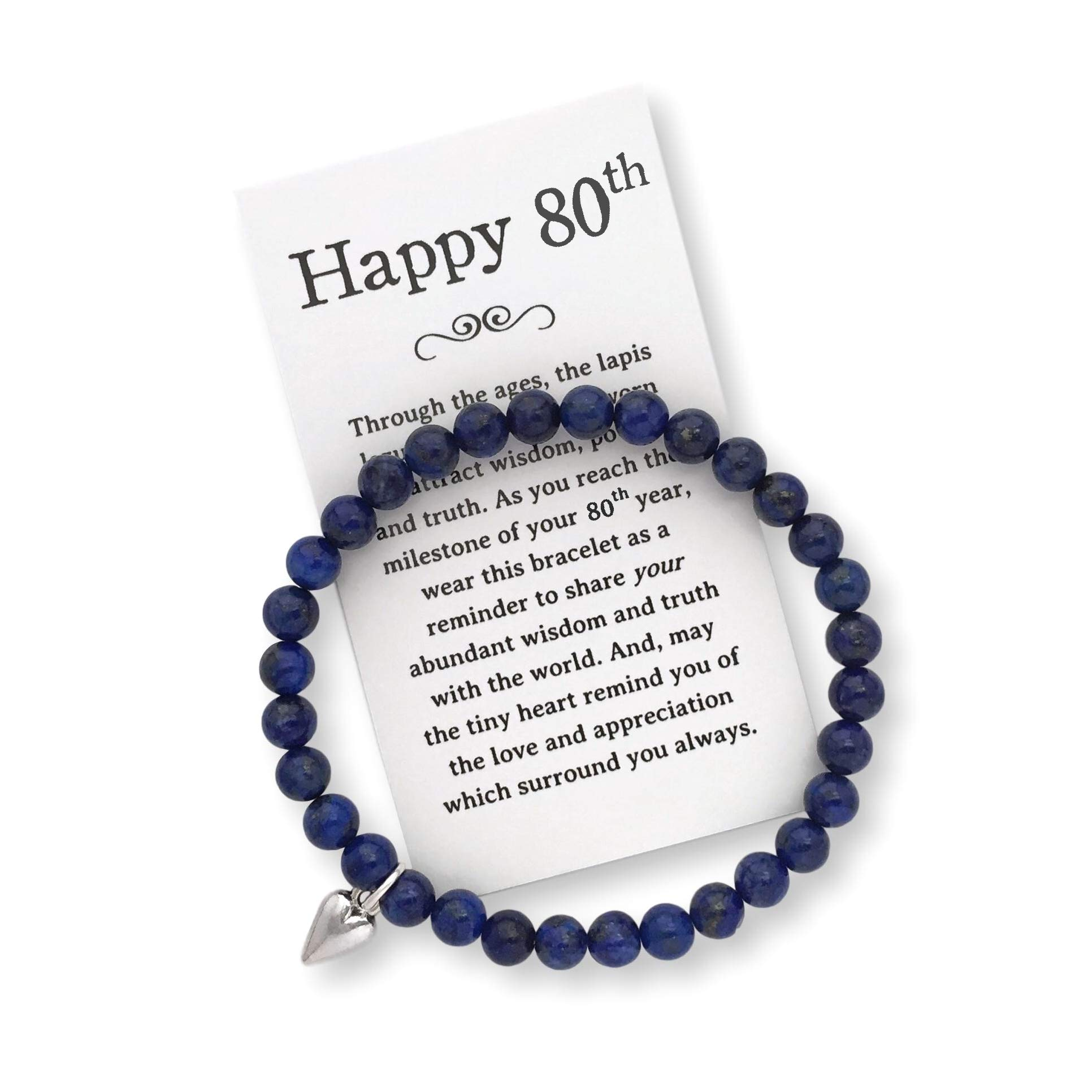 80th Birthday Gift for Women - 80th Jewelry Bracelet with Box, Bow and Card by Birthday Jewelry