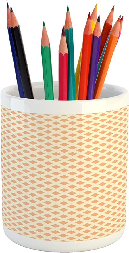 3.6 X 3.2 Pastel Brown and White Ambesonne Neutral Color Pencil Pen Holder Doodle Style Hand Drawn Inspired Swirling Monochrome Spirals Ceramic Pencil Holder for Desk Office Accessory