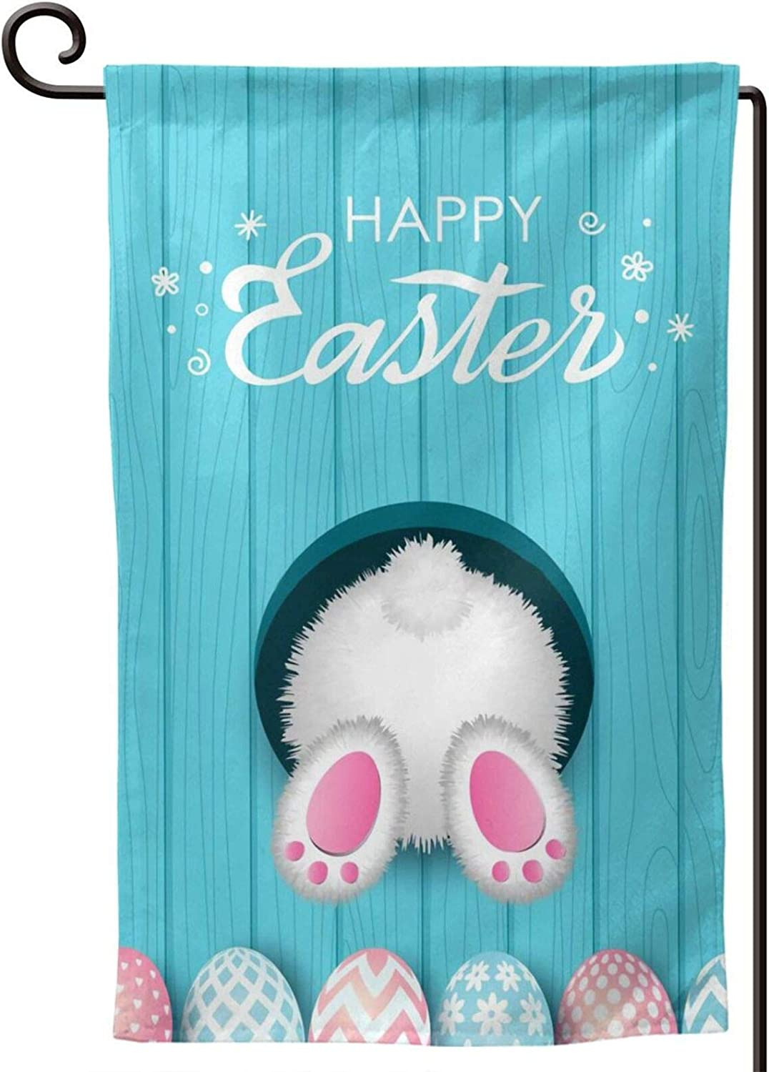 Garden Flag Happy Easter Flags, Colorful Bunny Eggs Family Flag Banner 12.5x18 inch, Fade Resistant Double Sided Novelty Yard Flags for Home Garden (color 1) by YIEASY