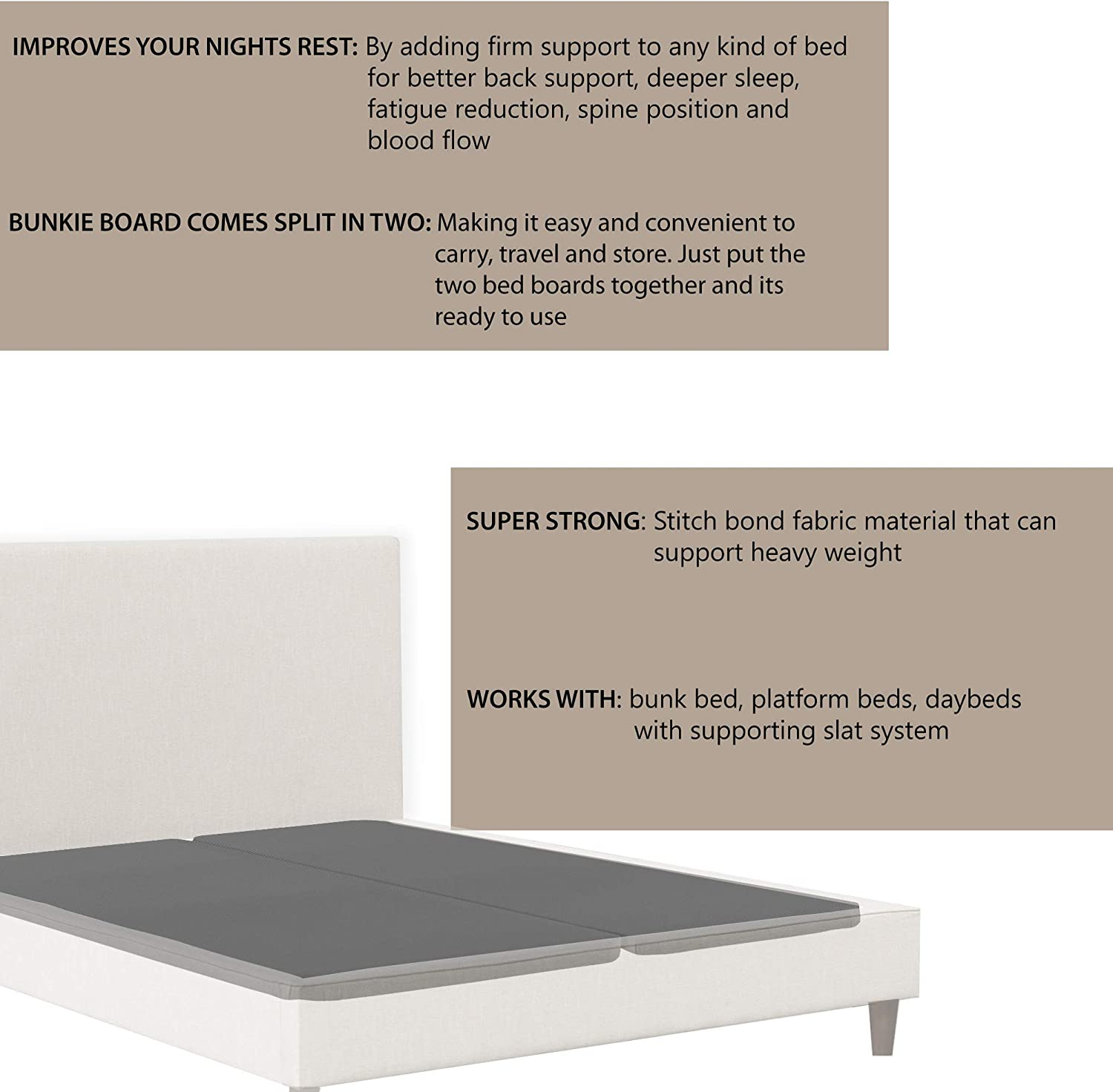 Mayton 2-Inch Wood Bunkie Board//Slats,Mattress Bed Support,Fits Standard Twin Size color may vary Grey