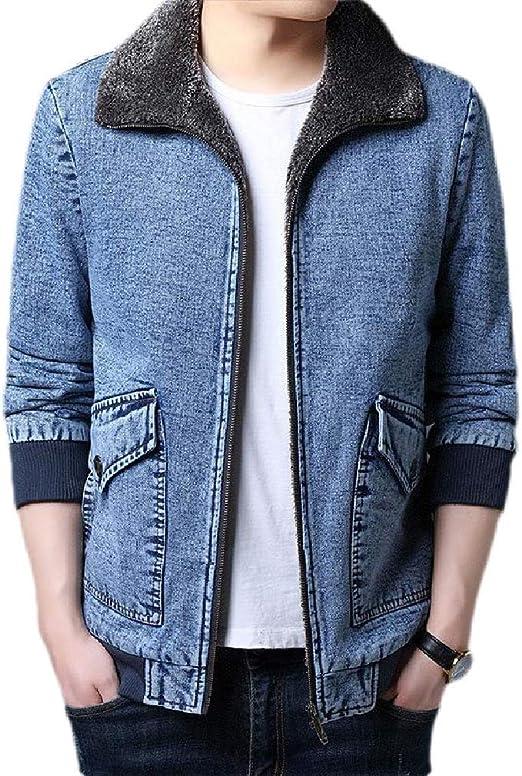 Yeirui Men's Sherpa Outdoor Full Zip Thicken Lapel Denim Jacket Coat Outerwear with Fleece Lined