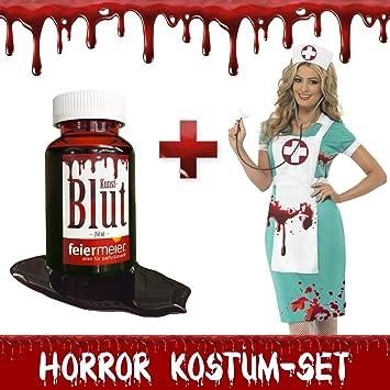 Horror Kostum Set Krankenschwester Blutverschmiert Halloween