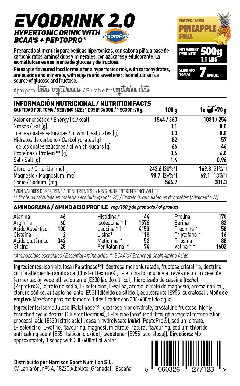 Bebida Isotónica en Polvo con Carbohidratos + Peptopro + BCAAs + Electrolitos de HSN Sports   Evodrink 2.0   Para Deportistas   Apto para Vegetarianos, ...