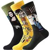 FLYCHEN Hombre 3 pares de excelente calidad Calcetines multicolores Pack Diseño de fantasía calcetines arte retro