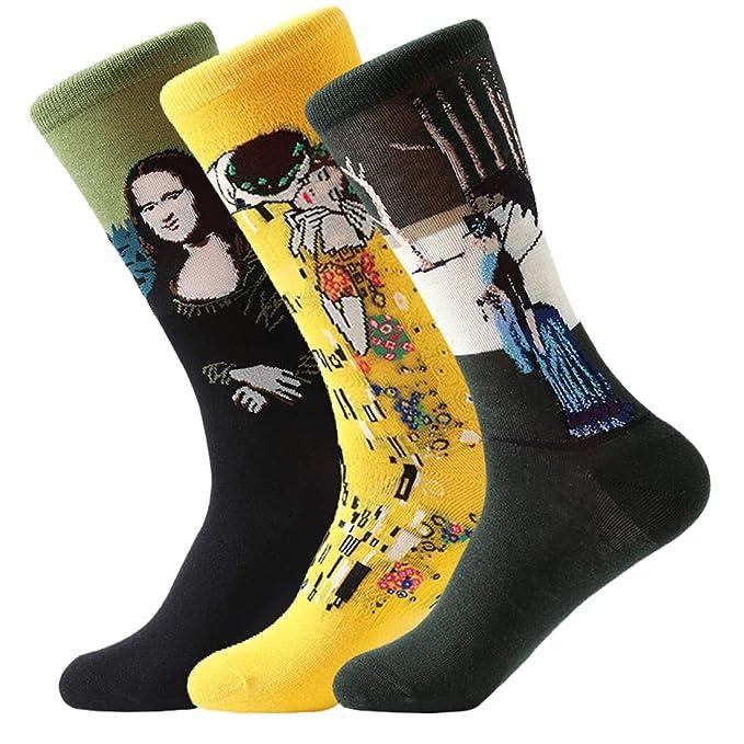 FLYCHEN Hombre 3 pares de excelente calidad Calcetines multicolores Pack Diseño de fantasía calcetines arte retro serie de pintura Unisex talla única EU ...
