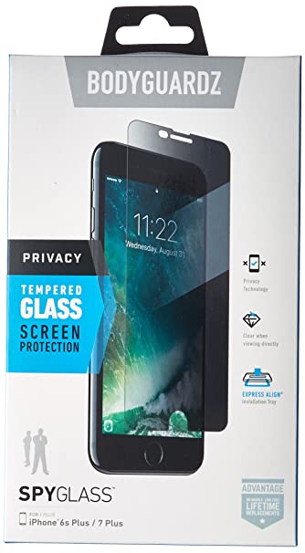 competitive price 362e7 e4128 BodyGuardz - SpyGlass Privacy Screen Protector, Extreme Impact and Scratch  Protection for iPhone 8 Plus/7 Plus/6s Plus/6 Plus