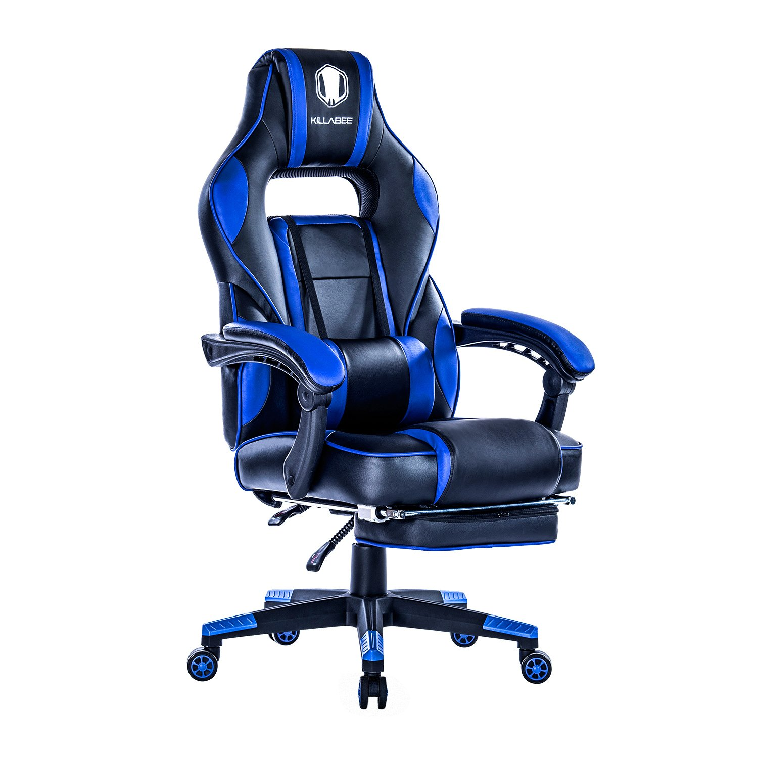 KILLABEE Reclining Racing Gaming Chair - Ergonomic High-back Office Computer Desk Chair with Retractable Footrest and Adjustable Lumbar Cushion, Blue&Black