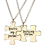 JOVIVI 2pc You Are My Person Puzzle Alloy Pendant Necklace Jewelry Set - Valentines Day Best Friend Gift
