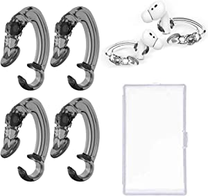 SUOFEIK 2 Pairs Ear Hooks Compatible with Apple AirPods 1, 2 and Pro, Anti-Slip Anti-Drop Ear Covers AirPods Accessories for Running, Cycling and Other Indoor-Outdoor Activities (Transparent Black)