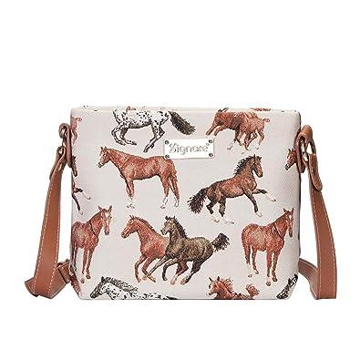 Signare Tapestry Sling bag cross body Running Horses