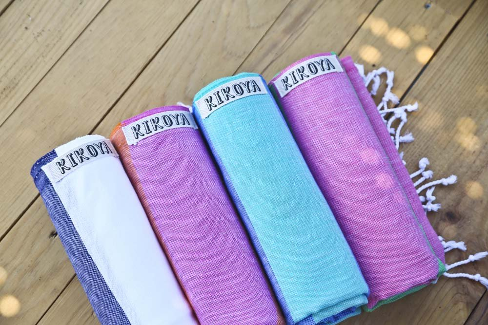 Cabana Stripe Style 100% Cotton, Pestemal Turkish Towel 39''x70'' Generous Size Turkish Towel Beach Bath Spa Yacht Gym Sport Peshtemal Sarong Hammam Towel Kikoy Fouta (Candy - Pink/Green) by Kikoya