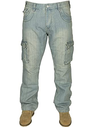 3ab573f6e36 Kam BNWT Mens King Size Cargo Combat Jeans in Black Blue LT Used Colours 30-60   Amazon.co.uk  Clothing