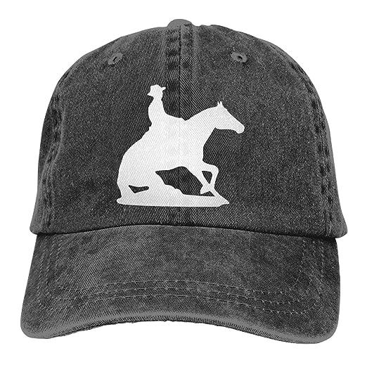 0b340c97be74f8 Women Men Adjustable Baseball Cap Reining Horse Silhouette Classic Hat Black