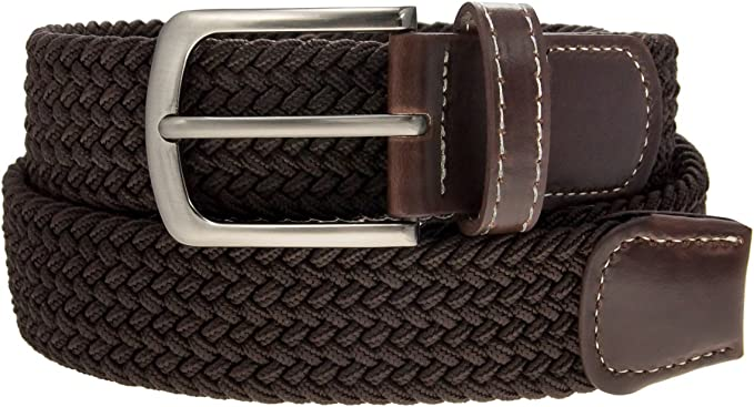 New Women Men Braided Woven Leather Tip Silver Buckle Waistband Waist Belt Gift