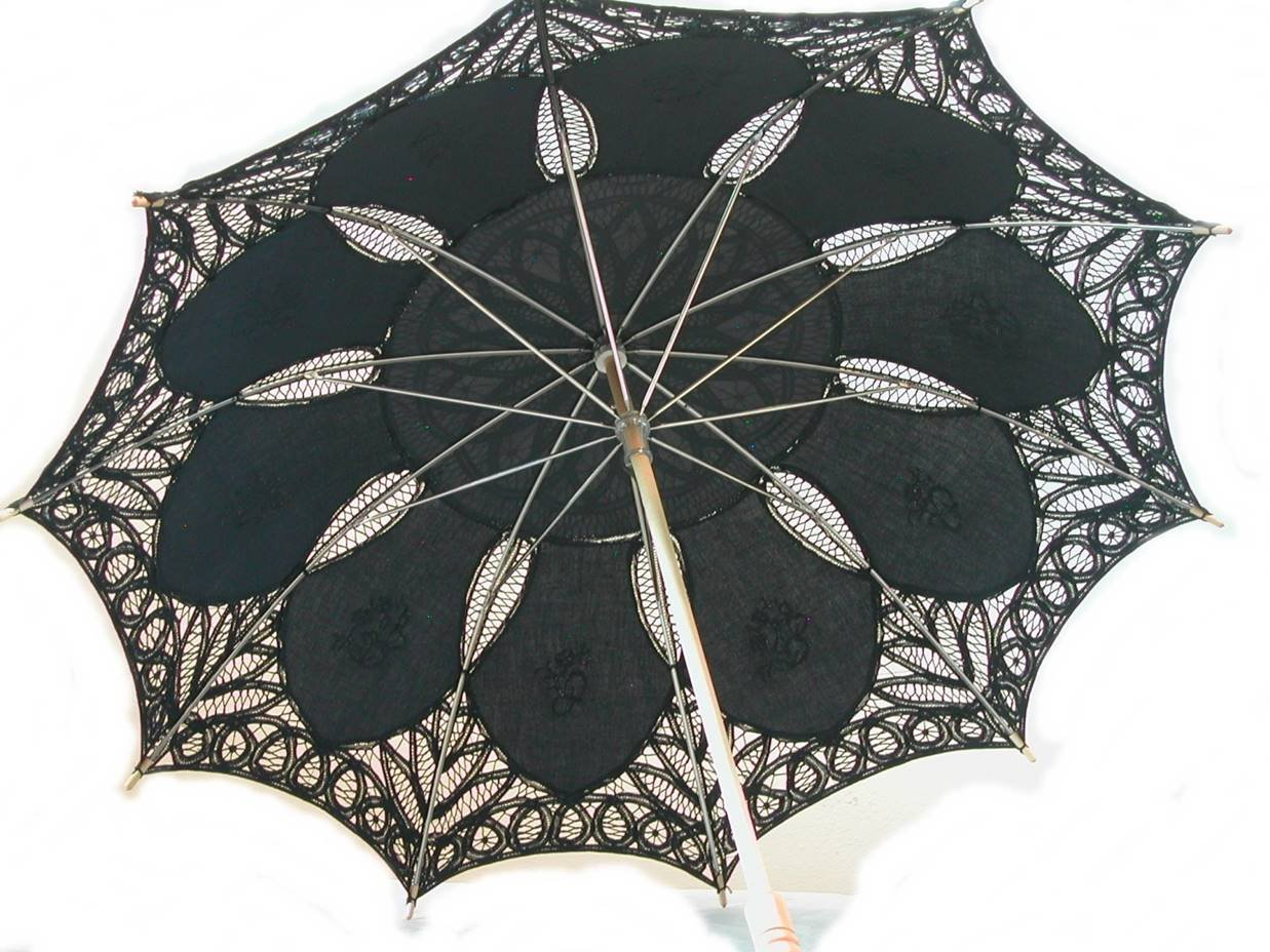 Black Cotton Parasol by lace-parasols (Image #2)