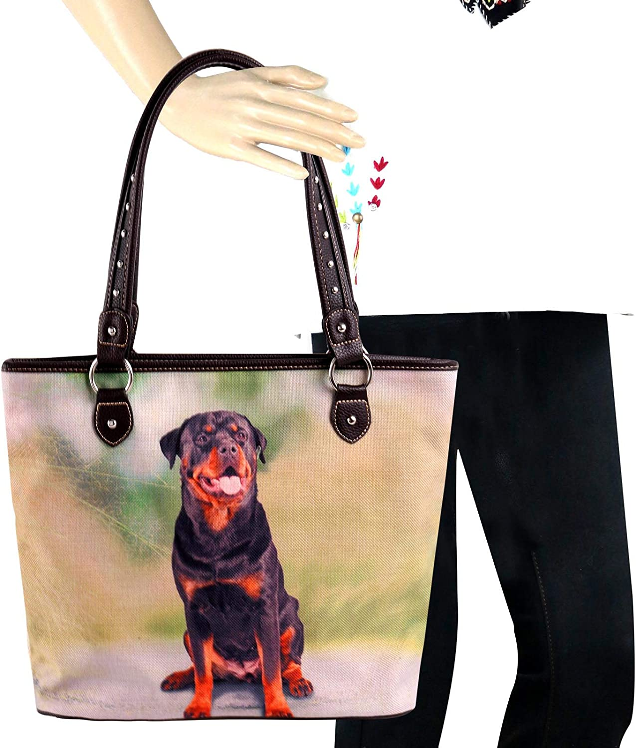 Women/'s Top Handle Hand Bag with Cat /& Tassel Charms Small Bag inside Main Bag