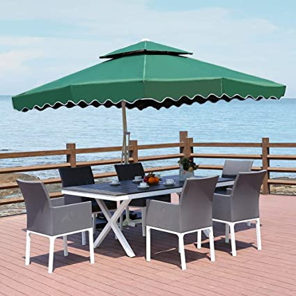 34ec6708c226 ROSE GARDEN Outdoor Living 9 Ft Cantilever Patio Umbrella with Strong  Sturdy Hand Push Round,6 Steel Ribs,UV Resistant, Blackish Green