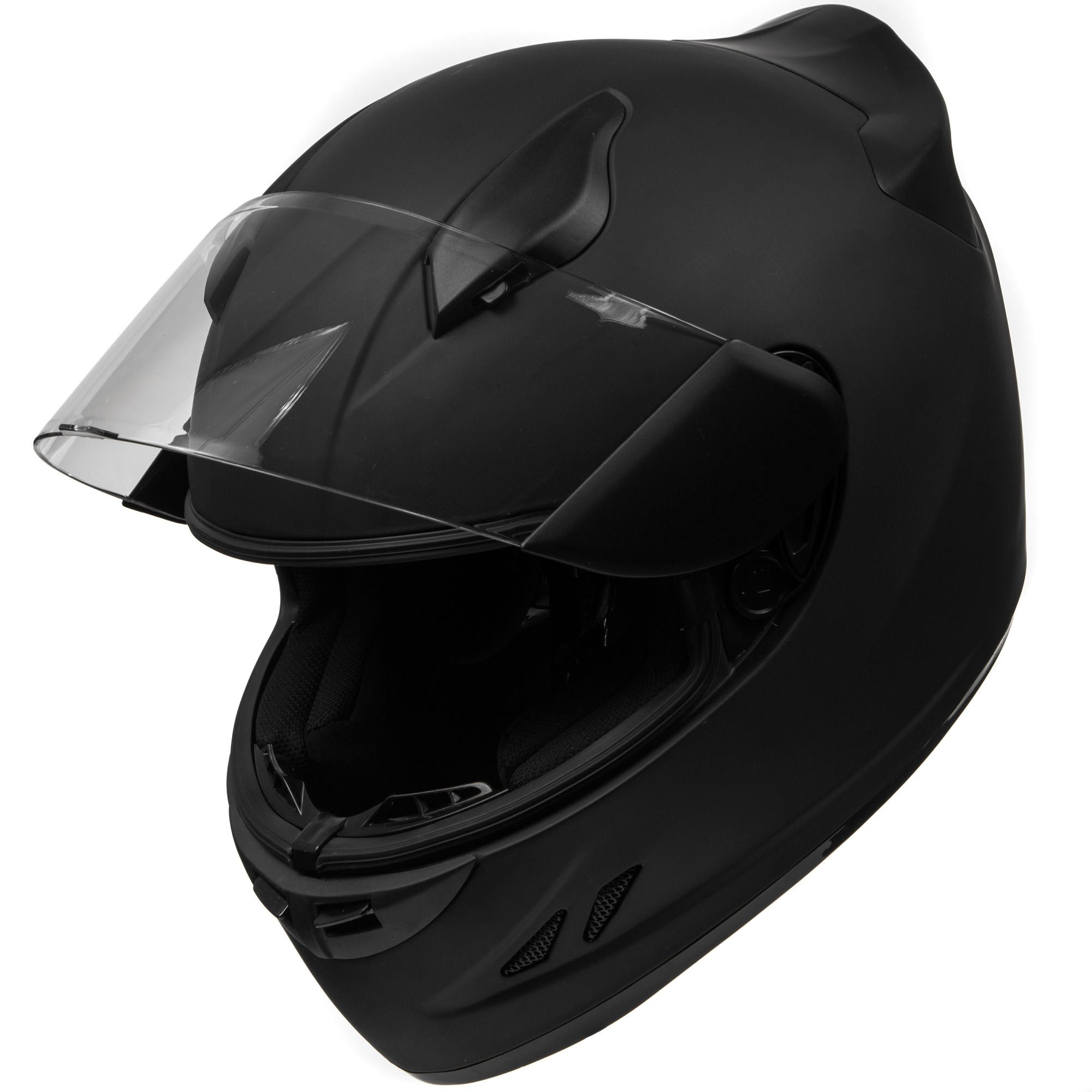 KOI DOT Motorcycle Helmet Full Face KOI Sportbike Matte Black w/Clear Visor - Large + KapscoMoto Keychain