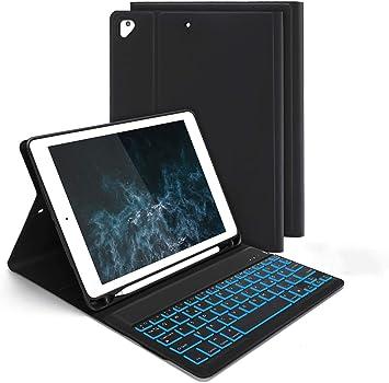 Jelly Comb - Funda con teclado Bluetooth para iPad 9,7 2018 (6. Gen.) /iPad 2017 (5. Gen.) /iPad Pro 9,7/Air/Air 2, 7-fabige Beleuchtete QWERTZ ...