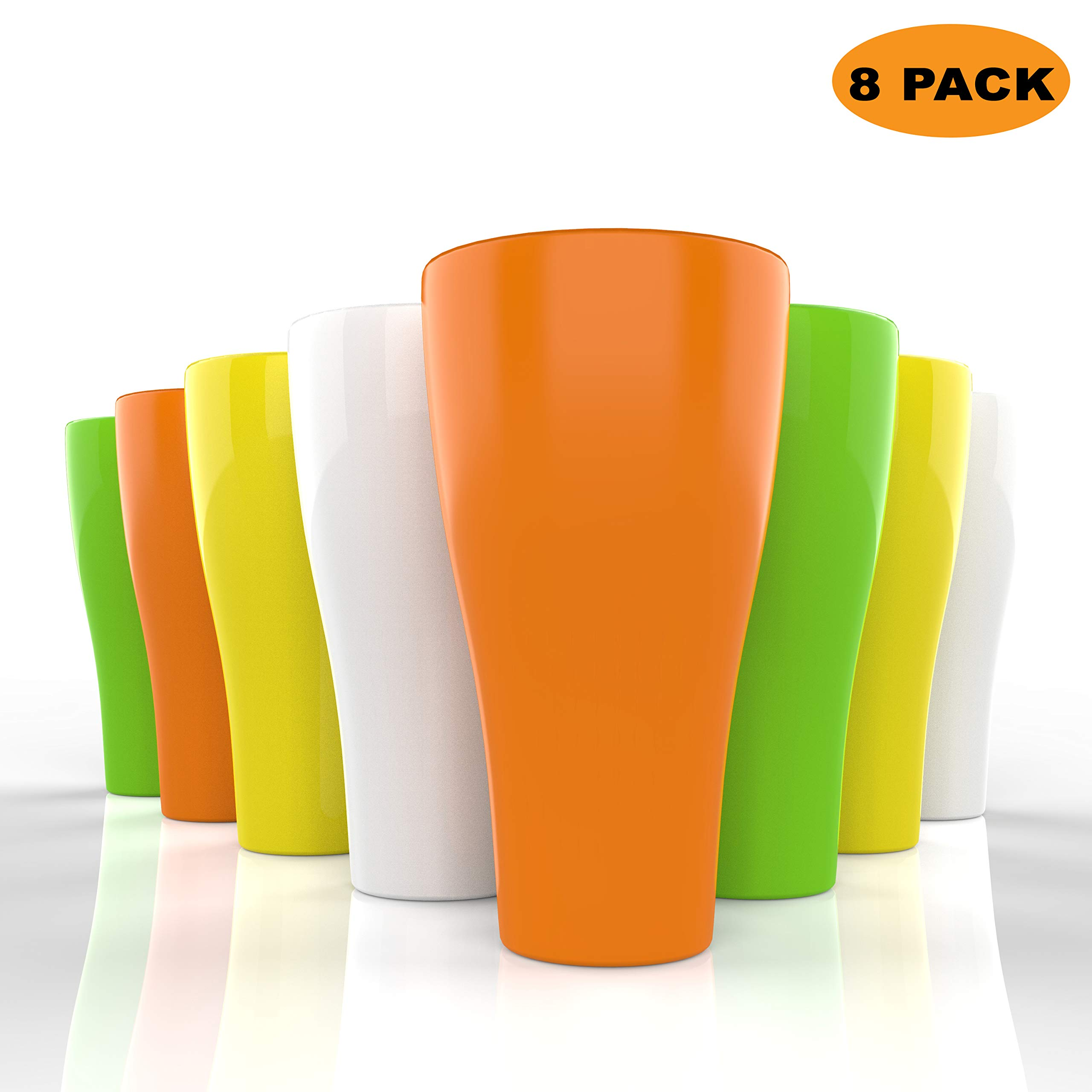 Unbreakable Sturdy Plastic Tumbler Cups - 17 oz - Set of 8 - Sturdy Durable Plastic Glasses Set - Break Resistant Reusable Outdoor Drinkware Large Dishwasher Safe Colorful Beverage Cup Tumblers by ML&LSK