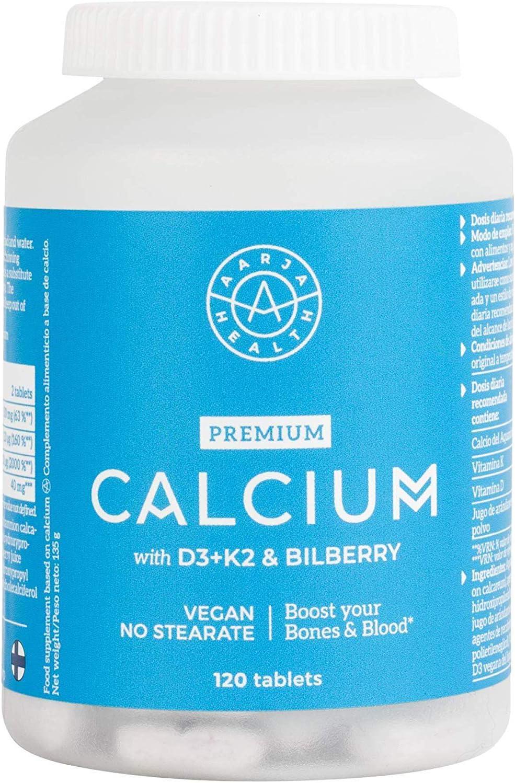 Calcio Natural Aquamin con Vitamina D3 & K2 - Formula Avanzada para una Maxima absorción y Eficacia - 120 Tabletas Vegana - Calidad Nórdica por Aarja Health