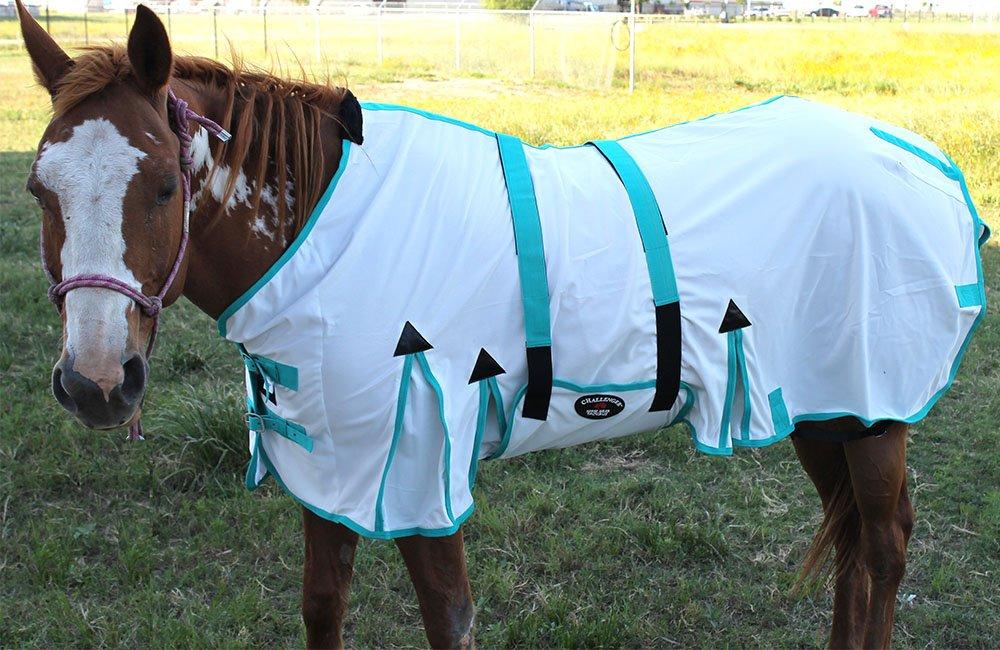 CHALLENGER 78'' Horse Fly Sheet Summer Spring Airflow Mesh UV Bellyband White 73403