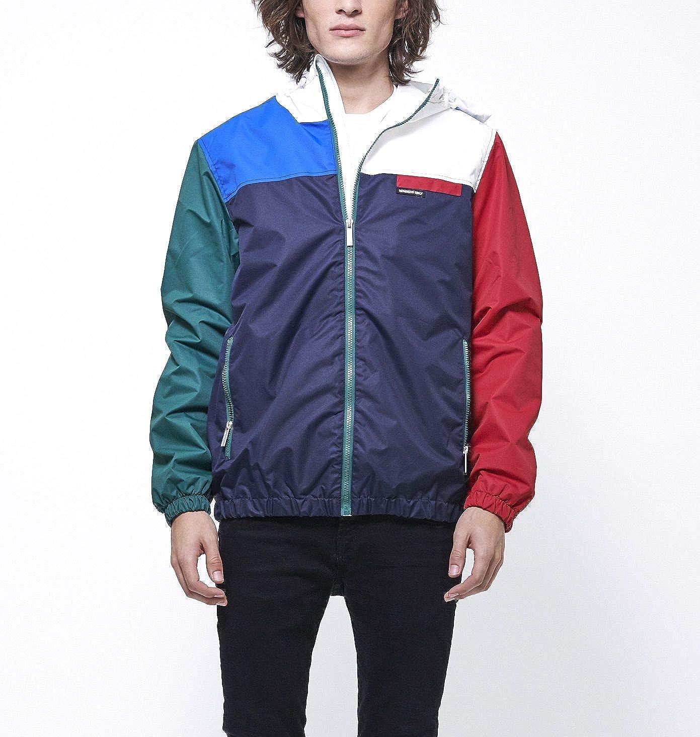 Members Only Mens Color Block Hoodie//Zip Front Jacket