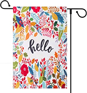 Coolrunner Hello Floral Leaf Garden Flag, Vertical Double Sided 12 x 18 Inch Decorative Flag for Easter Spring Summer Fall Garden Welcome Yard Outdoor Decor (Only Garden Flag)