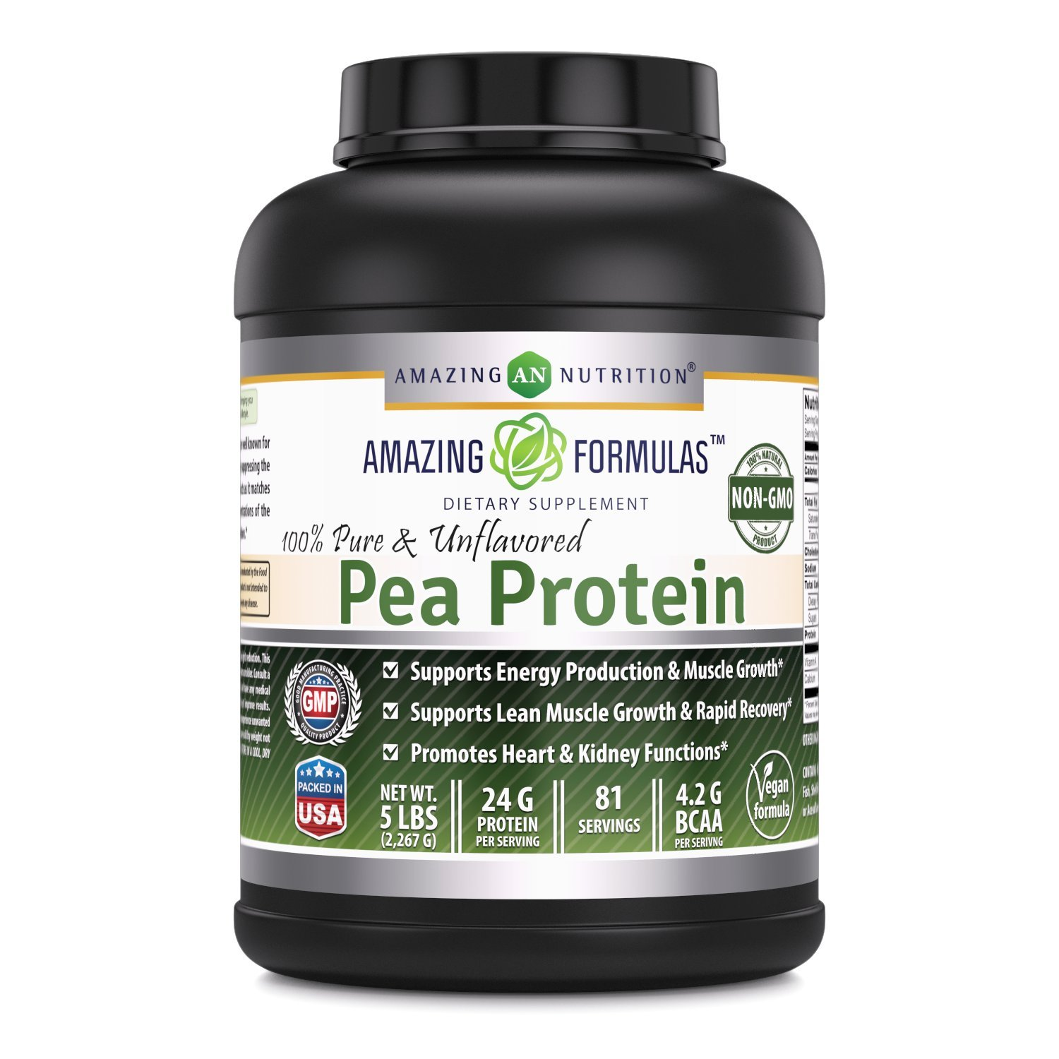 Amazing Formulas 100% Pure & Unflavored Pea Protein Dietary Supplement - 5 lbs (Non-GMO) - Supports Energy Production and Muscle Growth - Promotes Heart and Kidney Function