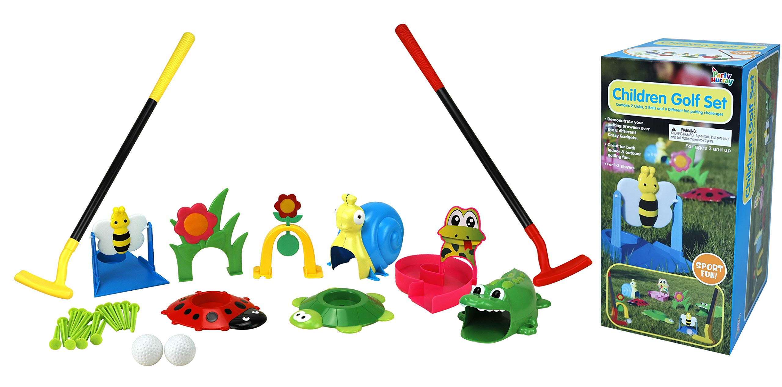 Party Hurray Children Golf Set, w/Golf Clubs, Practice Holes, Floral/Animal Obstacles, Golf Balls by Party Hurray