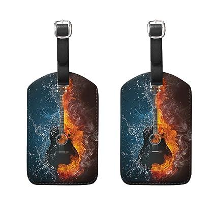 COOSUN Guitarra eléctrica del Fuego y del Agua Etiquetas de Equipaje de Viaje Holder Etiquetas de