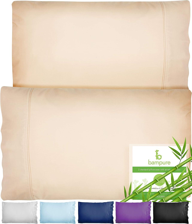 BAMPURE Bamboo Pillowcase Queen Bamboo Pillow Case Queen Size (20x30) - 100% Organic Bamboo Large Pillow Cases Cooling Pillowcase Cooling Pillow Cases Cool Pillow Cases Set of 2 Pillowcases Sand