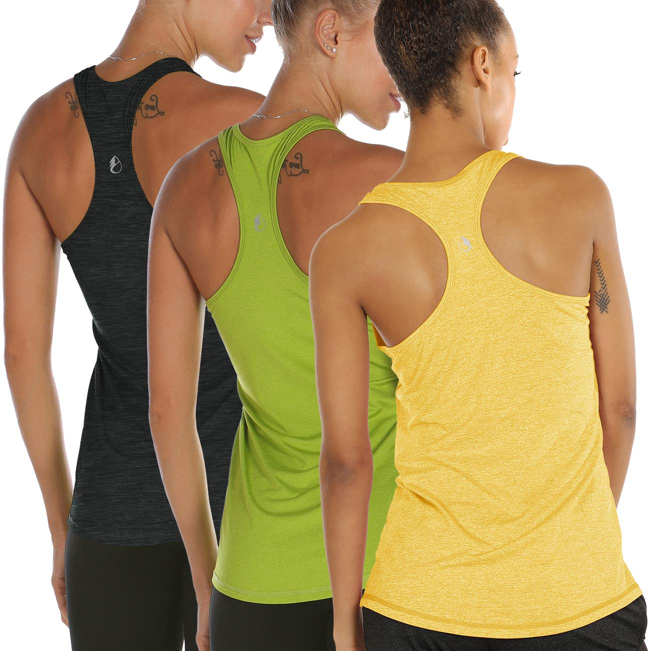 icyzone Workout Tank Tops for Women - Racerback Athletic Yoga Tops, Running Exercise Gym Shirts(Pack of 3) (XXL, Ombre Blue/Spectra Yellow/Green Glow) by icyzone