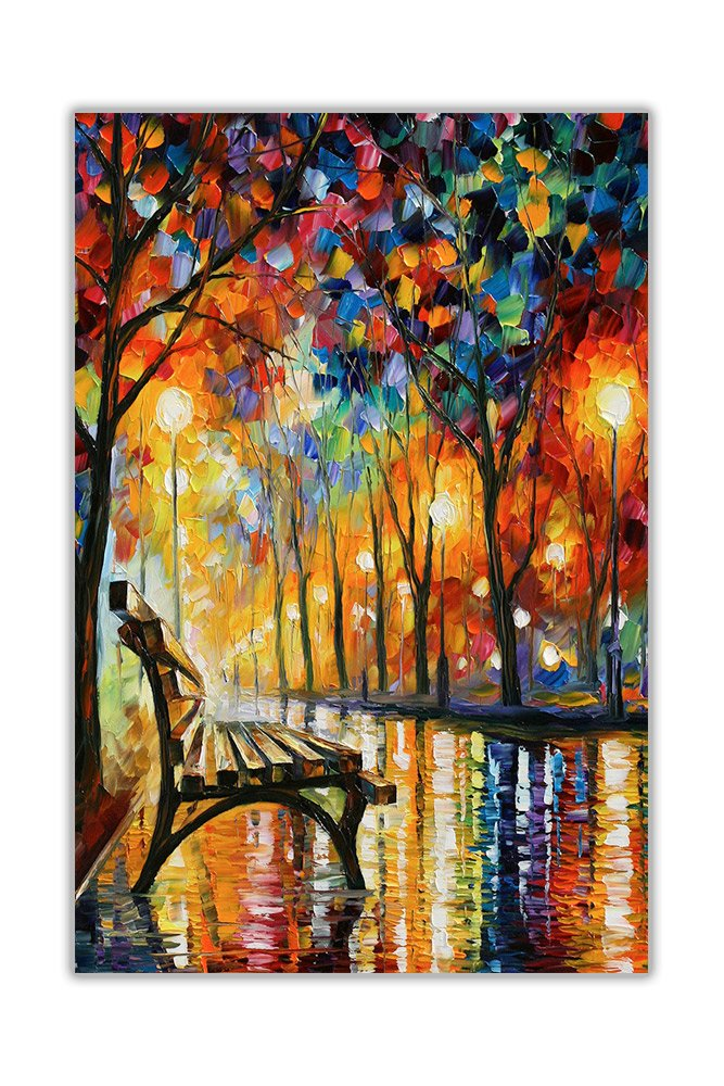 AT54378D: Loneliness Autumn By Leonid Afremov Poster Wall Art Oil Painting Re-print House Decoration Size A3 (29.7cm x 42cm) Canvas It Up