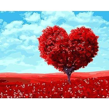 Malen Nach Zahlen Rot Herz Baum Digital Olgemalde Leinwandbild Diy