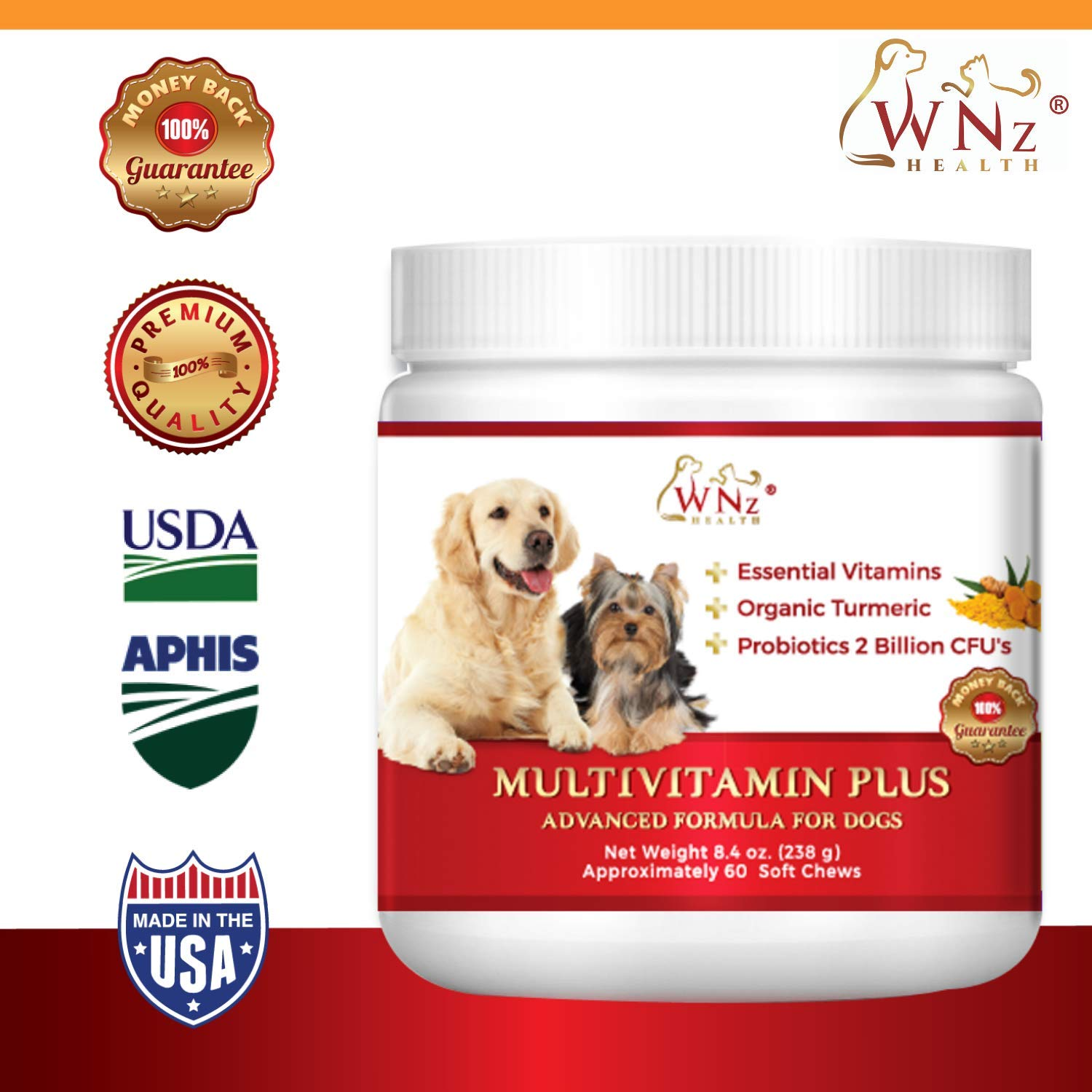 WetNozeHealth Vitamins for Dogs - Canine Multivitamin Supplement with Organic Turmeric and Probiotics for Large and Small Dogs, Chicken Flavor - 60 Soft Chews by WNz Health