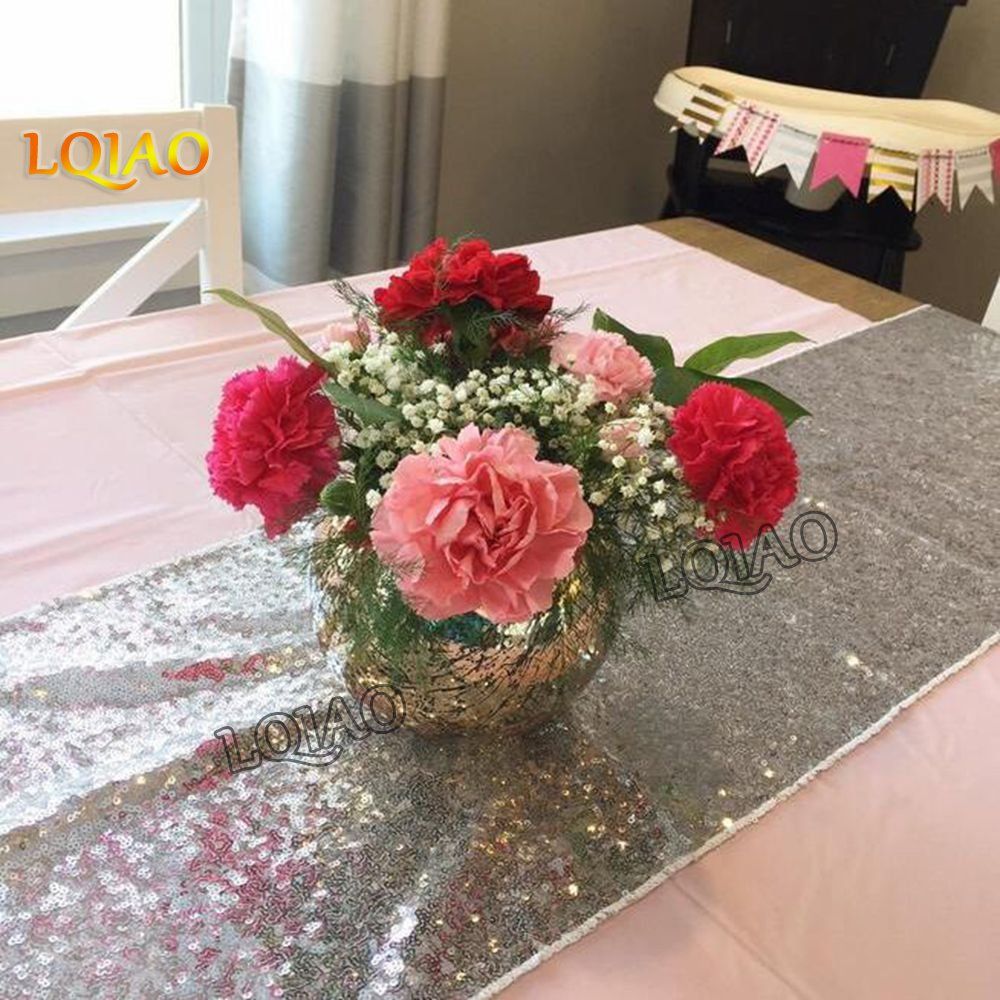LQIAO Silver Sequin Table Runner-14x108inch Sparkly Shimmer Sequin Fabric, Sequin Table Runner, Sequin Tablecloth, Table Linens Wedding Dining Party Shiny Decoration(18PCS)