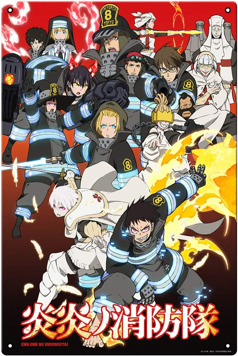 oceansEdge11 Fire Force Movie Metal Japan Anime Tin Sign Manga Poster Bar Cafe Bedroom Home Decor 8 x 12 inch(20x30cm)