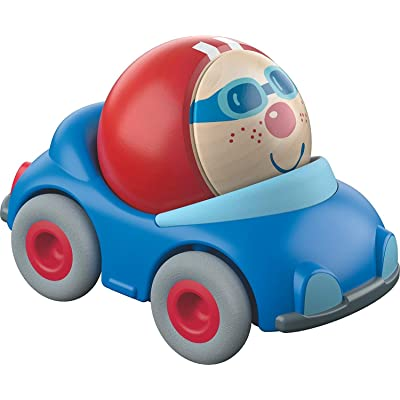 HABA Kullerbu Kevin's Convertible Ball Car - Blue Vehicle with Cheerful Wooden Ball Driver - Can be Enjoyed with or Without The Kullerbu Track System - Ages 2+: Toys & Games