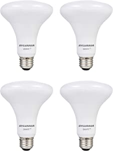 SYLVANIA Smart+ Wi-Fi Soft White Dimmable BR30 LED Light Bulb, CRI 90+, 65W Equivalent, Works with Alexa and Google Assistant, 4 Pack