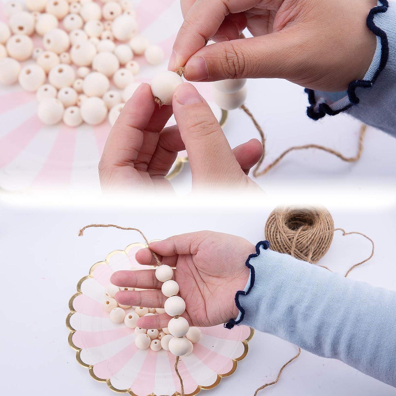 Perles en Bois Naturel pour lartisanat de Bricolage TOYMIS 700 Pi/èces Perles en Bois avec Ficelle de 50 m/ètres 6 Tailles Perles en Bois en Vrac pour Collier de Bracelet de Bijoux Faits /à la Main