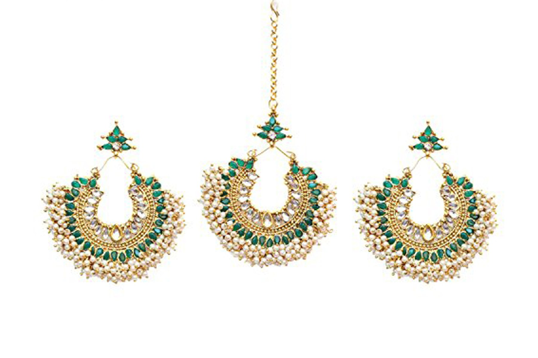 Indian Bollywood Green stone Antique Gold Plated Maang Tikka & Earring Forehead Jewelry