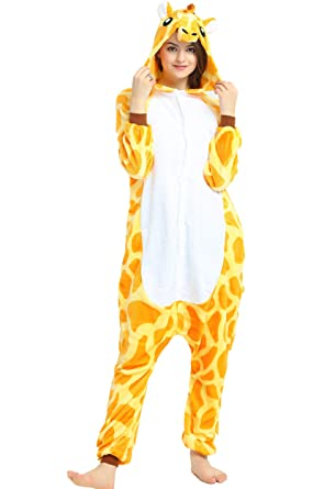 Indiefit Adults Onesie Pyjamas Flannel Animal Cosplay Costume Hoodie  Sleepwear Nightgown giraffe-S 1561903fc
