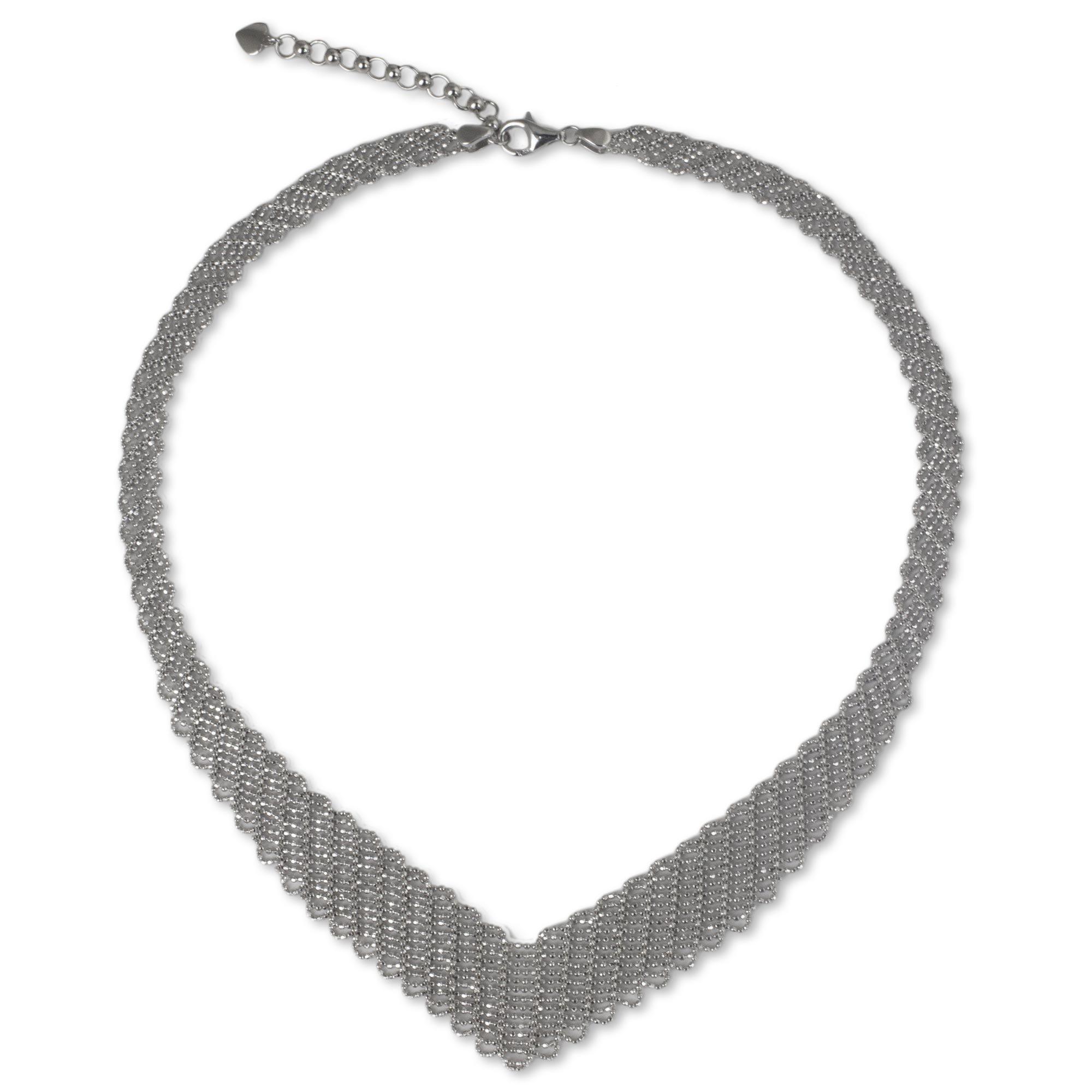 NOVICA .925 Sterling Silver Collar Necklace, 15.75'' 'Precious Weave'