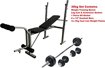 Iqi Fitness Weight Training Bench Set Press Curl Bar Dumbbell 30 Kg Plates Adjustable Amazon Co Uk Sports Outdoors