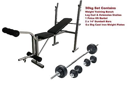 Banco de entrenamiento con pesas Curl Barl + + mancuernas 30 kg placas ajustable & plegable