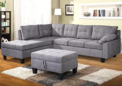 Harper U0026 Bright Designs Sectional Sofa Set With Chaise Lounge And Storage  Ottoman Nail Head Detail