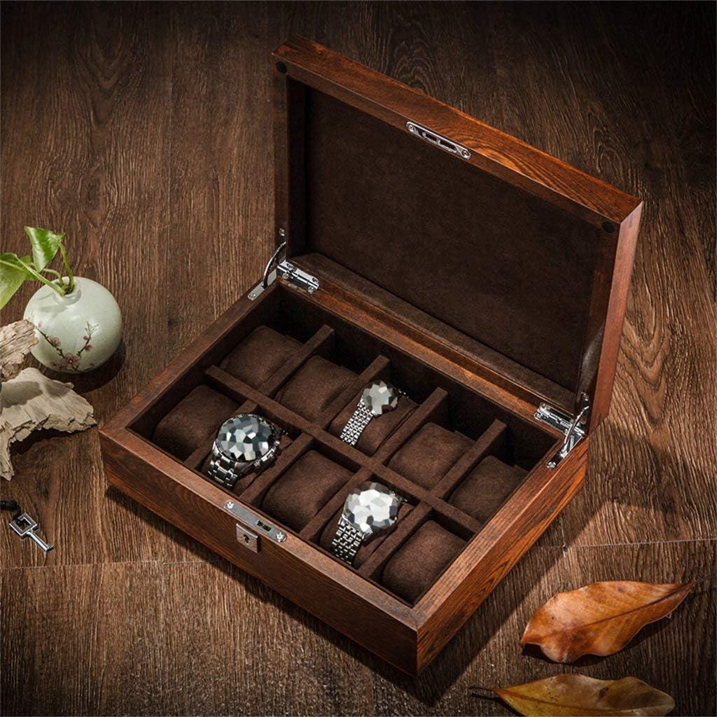LY88木製の時計ジュエリー収納ボックス付きロック枕手首高級ギフト男性または女性の腕時計ジュエリーブレスレットコレクションディスプレイケースホルダー、10グリッド、ブラウン、30x10x22cm